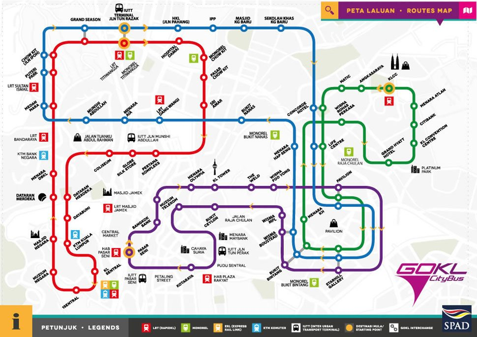 Go KL Blue Line & Red Line Route Map