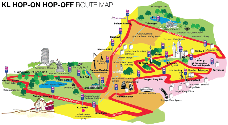 KL Hop-On Hop-Off Route Map