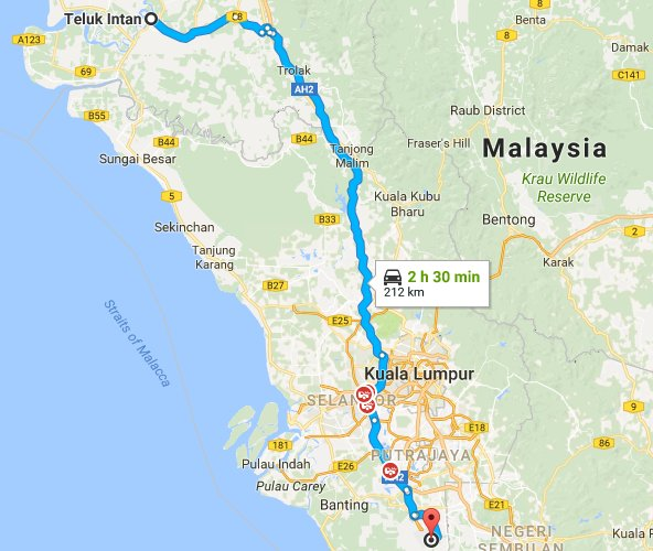 Route map from Teluk Intan to klia2