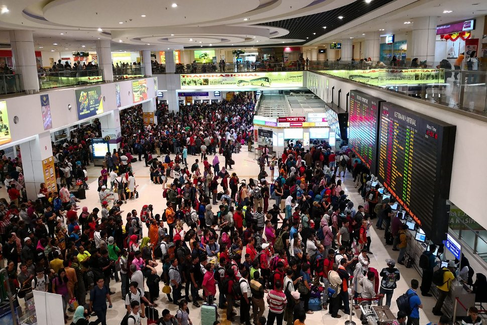 Crowded terminal during festive seasons