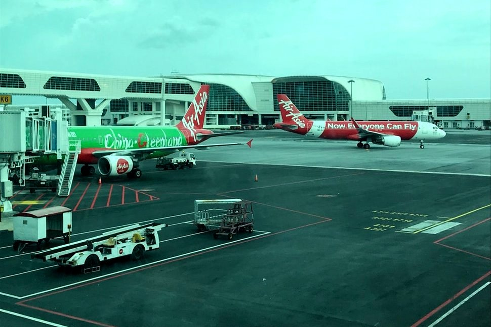 View of AirAsia flights from the Pier