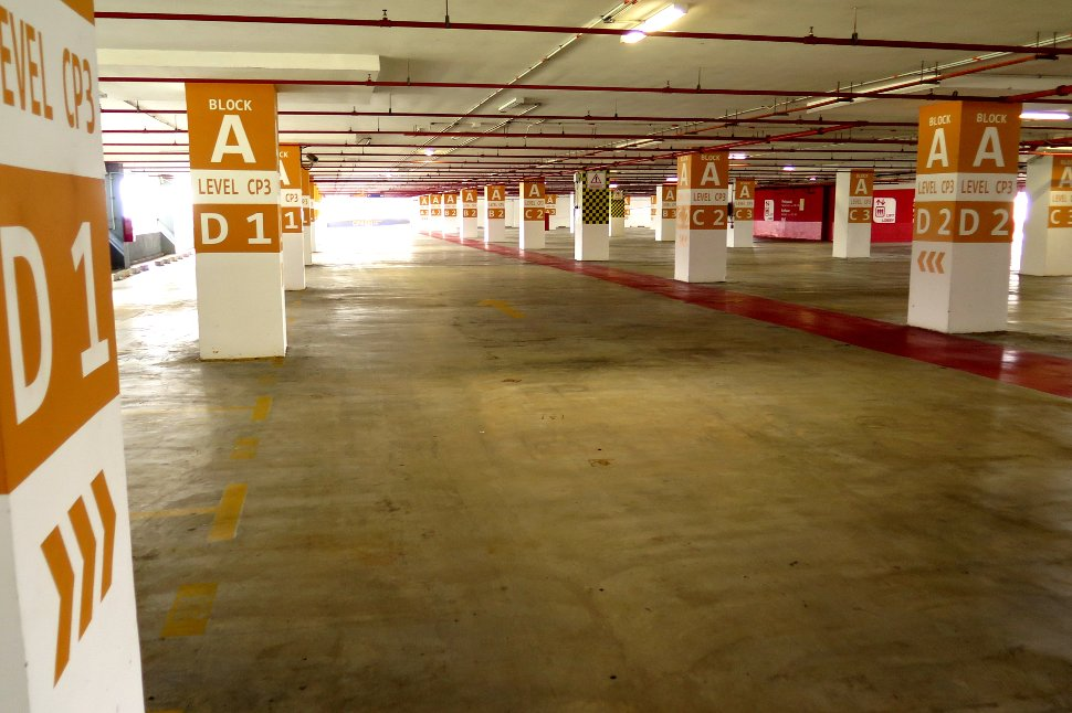 Parking bays at CP3 level, block A