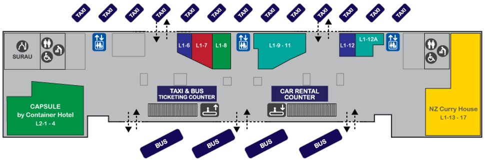 Layout plan, Level 1 of Gateway@klia2 Mall
