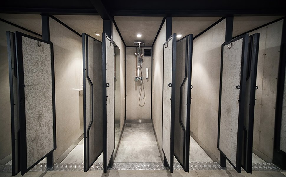 Bathrooms with hot and cold shower