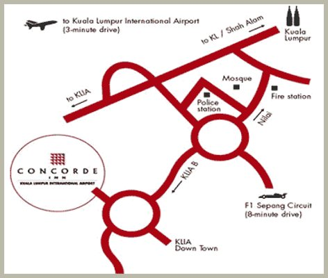 Map to Concorde Inn<