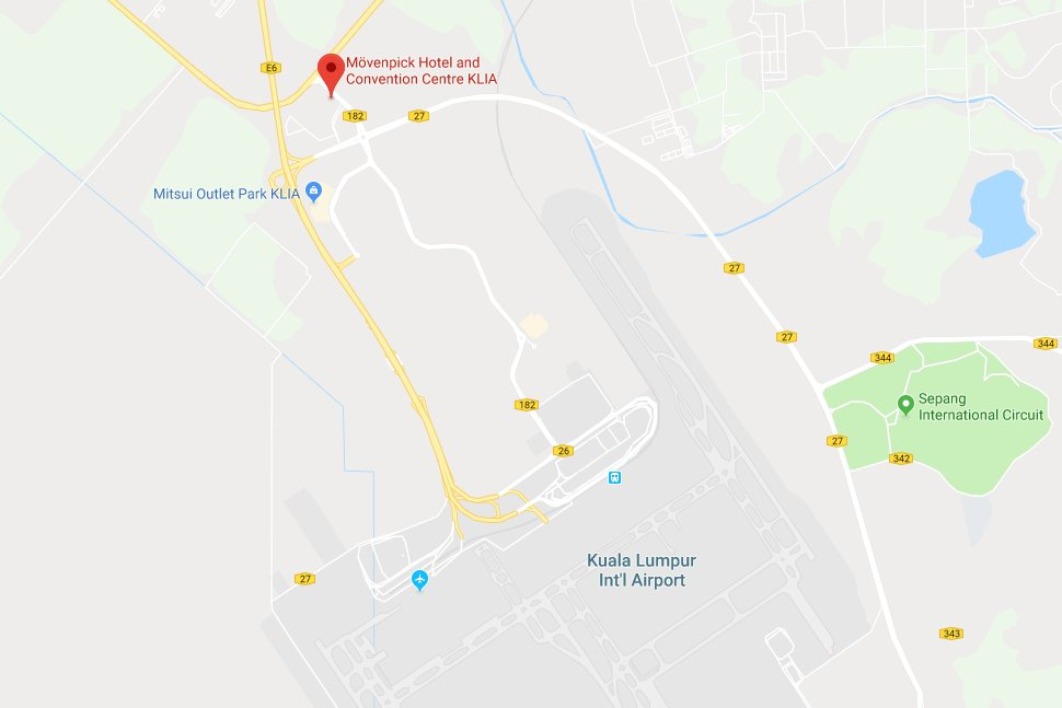 Location of the Mövenpick Hotel & Convention Centre KLIA