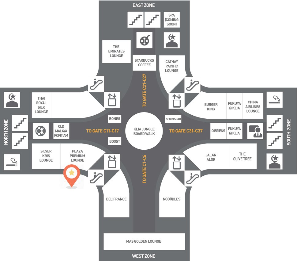 Location of Plaza Premium Lounge at the Satellite Building, KLIA