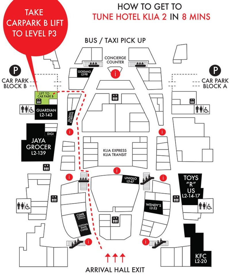 Directions from Arrival hall to Tune Hotel klia2