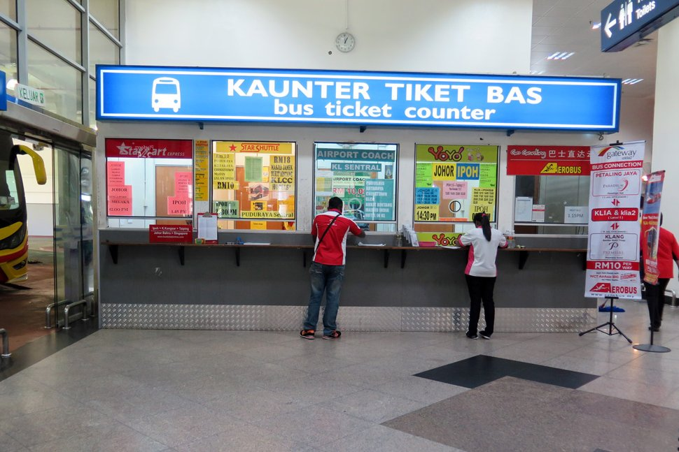 Bus ticket counters at the KLIA