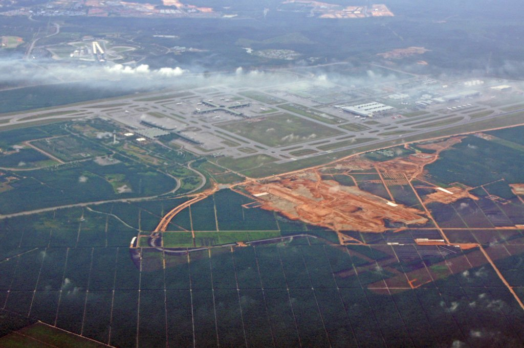 Aerial view of klia2 construction site, 2011