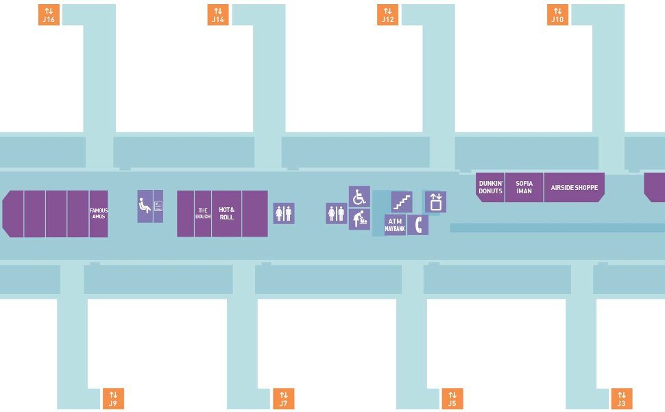Pier J layout plan, near Gate J3, J5, J7, J9, J10, J12, J14, J16