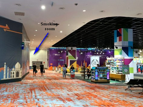 Directions to Smoking Room at level 2, Satellite Building