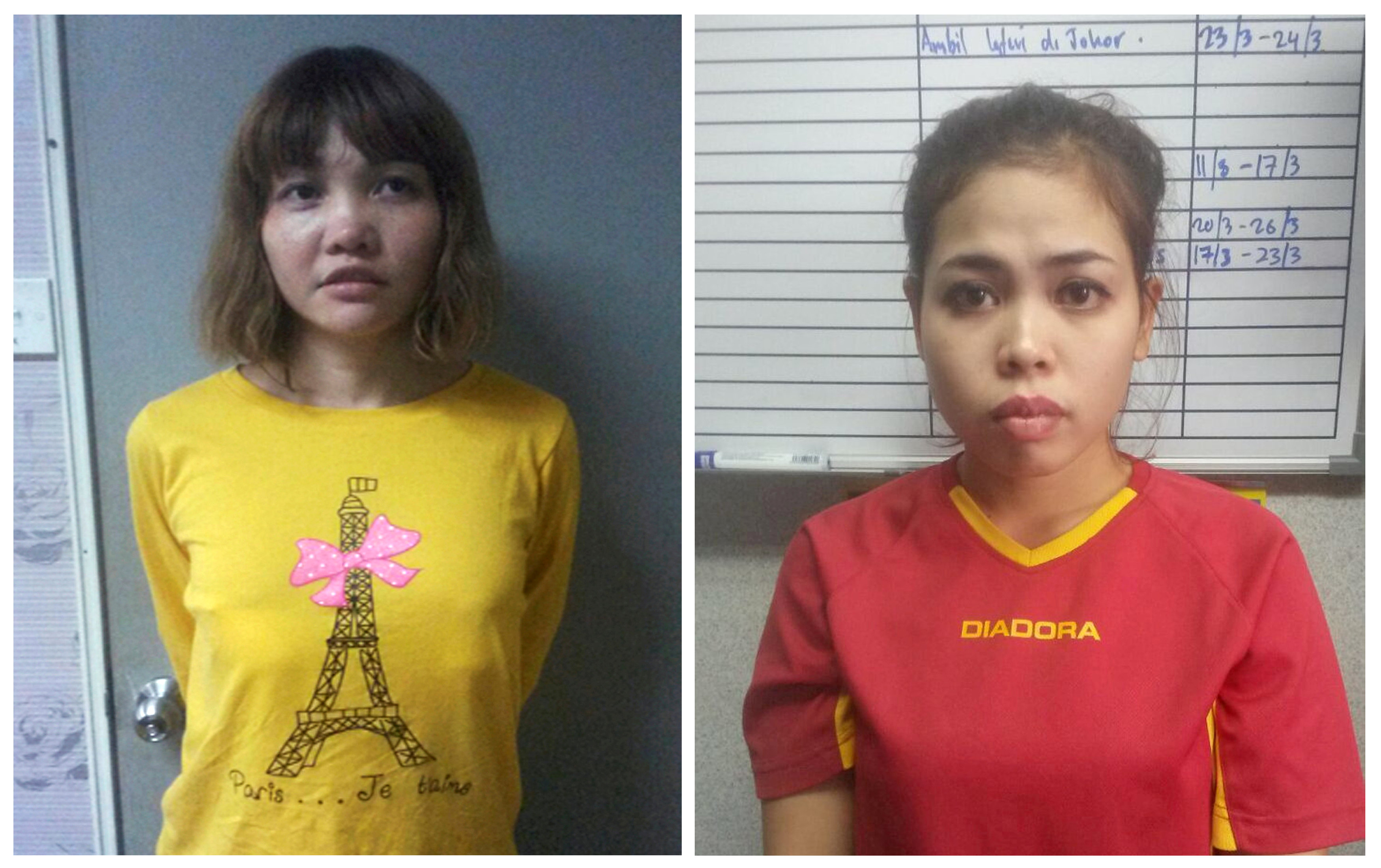 Vietnamese Doan Thi Huong (L) and Indonesian Siti Aishah are seen in this combination picture from undated handouts released by the Royal Malaysia Police to Reuters on February 19, 2017. Malaysia on March 1, 2017 charged both women with the murder of Kim Jong Nam, the estranged half brother of North Korea's leader. Royal Malaysia Police/Handout via Reuters/File Photo