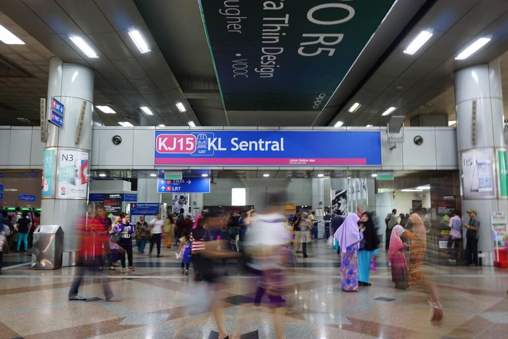 KL Sentral, Kuala Lumpur's integrated rail transportation center, is Malaysia's largest transit hub