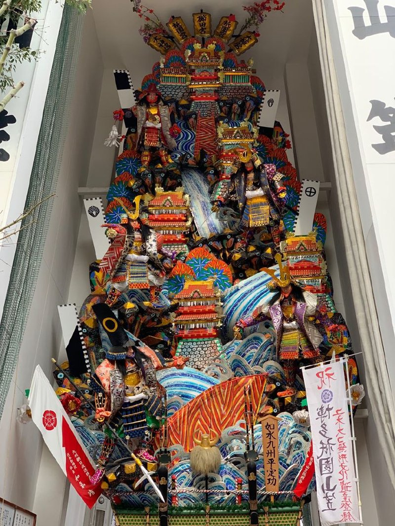 Yamagasa float is re-made in a new design during the Hakata Gion Yamakasa annual festival.