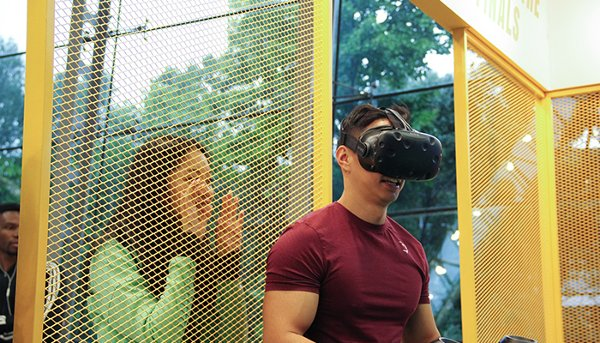 The virtual reality soccer game gives participants an almost realistic and immersive experience of being on a football field.