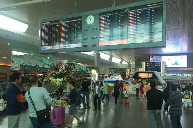 The departure hall at klia2 on Wednesday looking busy as usual but flights are back to normal
