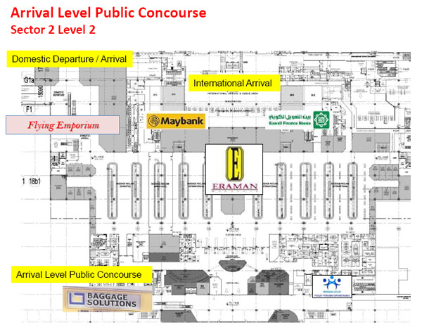 Shops at klia2, Arrival Level Public Concourse (Sector 2 Level 2)
