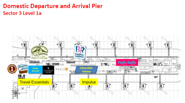 Shops at klia2, Domestic Departure and Arrival Pier Sector 3 Level 1a