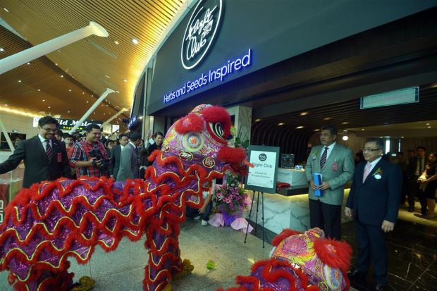 A lion dance was performed at the launch of the Flight Club at the Kuala Lumpur International Airport in Sepang