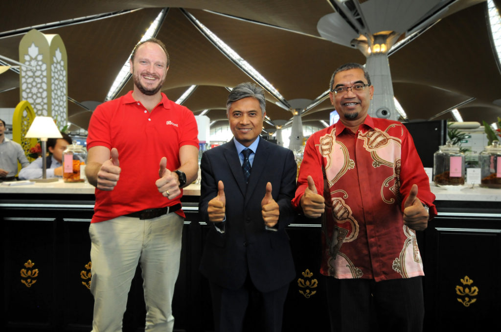 Thumbs up to a tripartite collaboration: (from left, Boost CEO Christopher Tiffin, MAHB Senior General Manager, Commercial Services Mohammad Nazli Abdul Aziz and DDEC CEO Abdul Rahman Mohd Saad