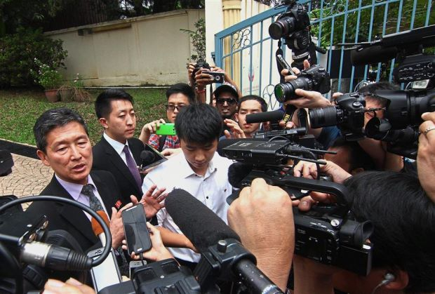 Explaining the situation: Ri (left)addressing the media at the North Korean Embassy in Jalan Batai, Damansara. - RAYMOND OOI/The Star