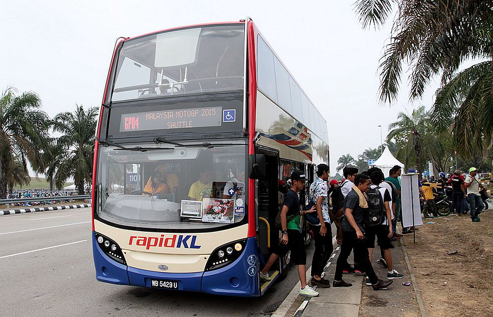 Rapid KL has replaced the singe decker buses with double decker ones in its MotoGP shuttle service to cut the long queues and waiting time. ?Pic supplied, October 25, 2015.
