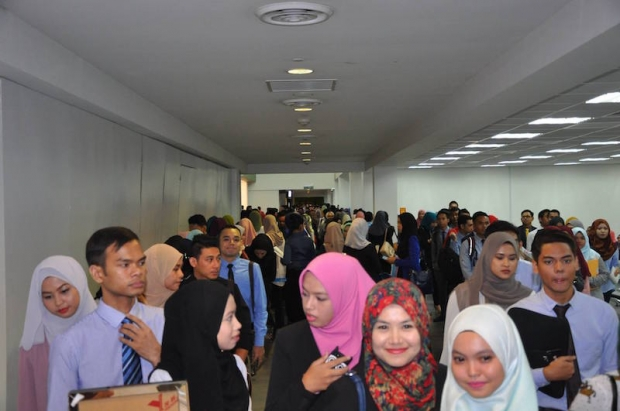 Some of the candidates who turned up at the interview session yesterday. ?Picture via Facebook.com/RayaniAir