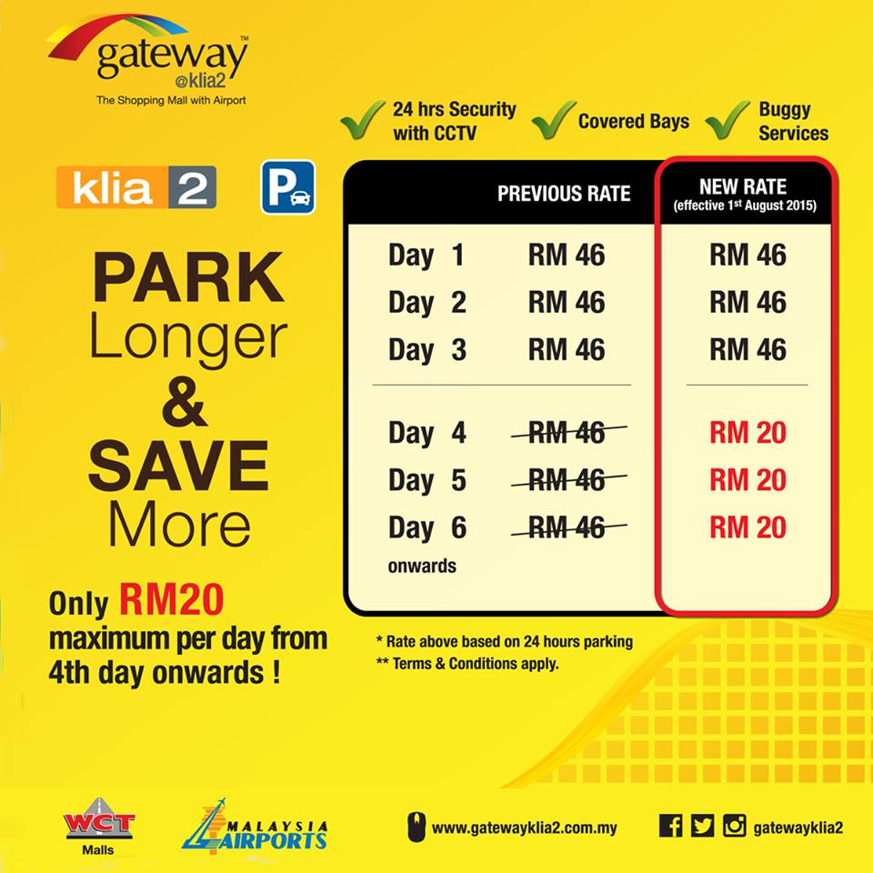 Reduced parking charges at klia2