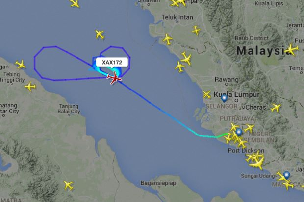 A FlightRadar image showing the plane's route over the Malacca Straits