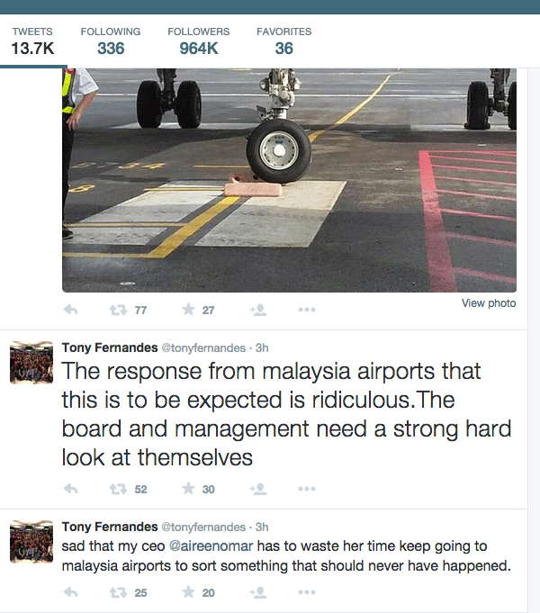 AirAsia group chief executive officer Tony Fernandes says Malaysia Airports Holdings Berhad (MAHB) must take responsibility for sinking areas at the klia2 budget terminal. ?Twitter screenshot, July 27, 2015.