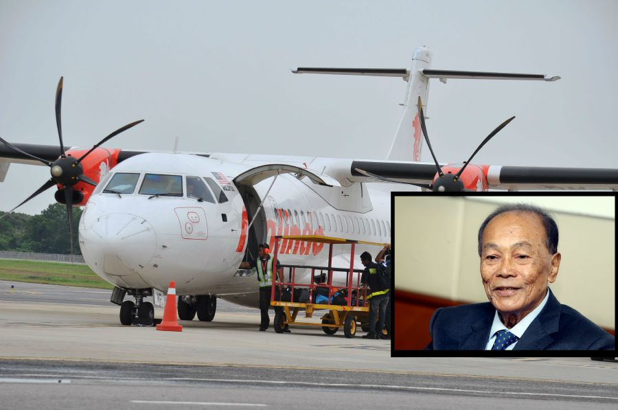 Tunku Aziz Tunku Ibrahim (insert) is urging authorities to investigate possible elements of corruption in the case of Malindo Air failing to pay RM70 million worth of airport taxes.