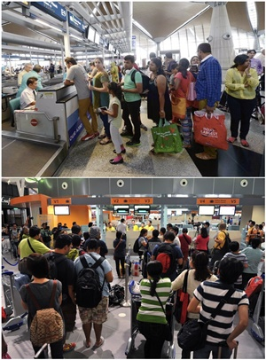 Passengers checking in at KLIA (top) and klia2 (below)