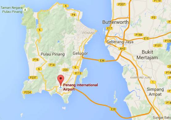 Location of Penang International Airport