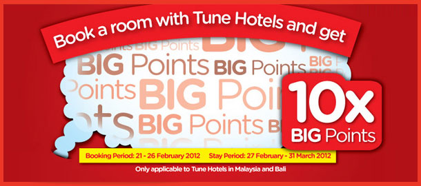 TuneHotels Promotion - 10X BIG Points