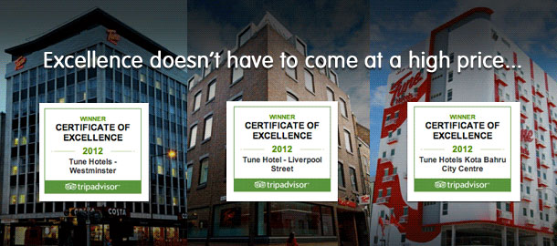 TuneHotels Promotion - Tripadvisor's Certificate of Excellence 2012