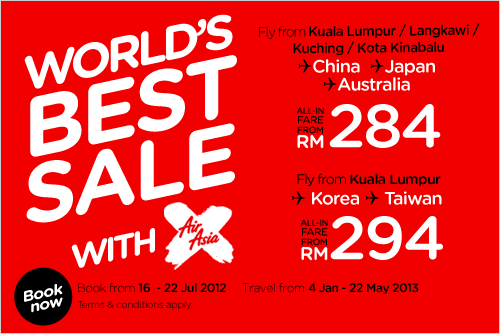 AirAsia Promotion - World's Best Ever Sale with AirAsiaX