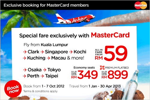 AirAsia Promotion -Exclusive Mastercard Low Fare