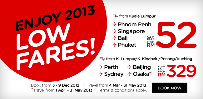 AirAsia Promotion - Enjoy 2013 Low Fares!
