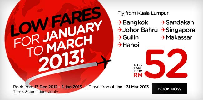 AirAsia Promotion - Low Fares for January to March 2013