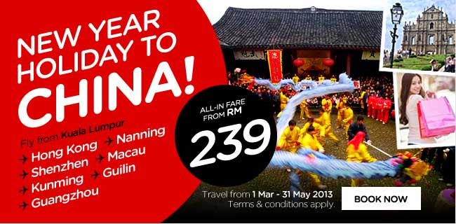 AirAsia Promotion - New Year Holiday to China