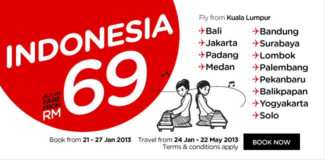 AirAsia Promotion - Indonesia, all-in fare from RM69