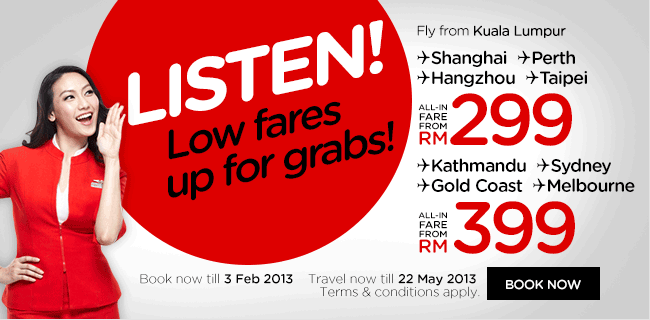 AirAsia Promotion - Listen! Low fares up for grabs