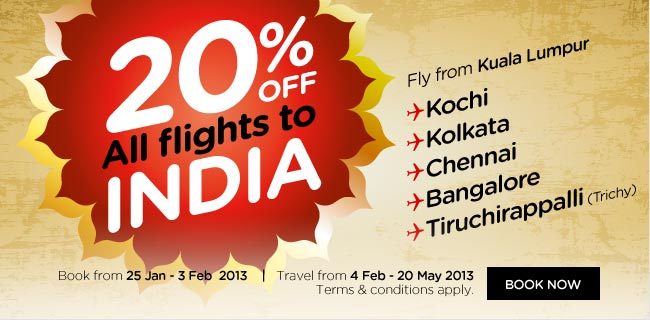 AirAsia Promotion - 20% Off All flights to India