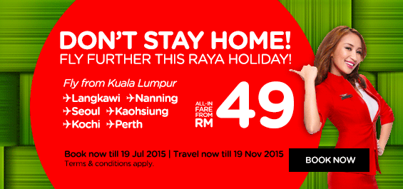 Don't Stay Home, Fly Further This Raya Holiday! Fly from Kuala Lumpur to Langkawi, Nanning, Seoul, Kaoshiung, Kochi, Perth, all-in fare from RM49