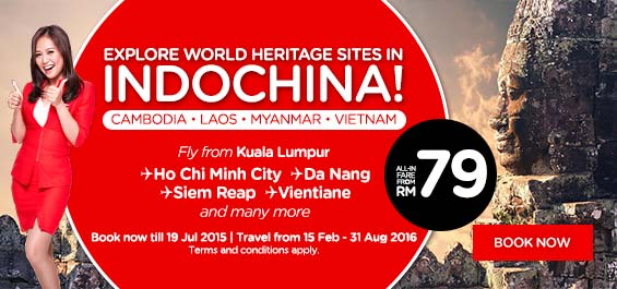 Explore world heritage sites in Indochina! Cambodia, Laos, Myanmar, Vietnam. Fly from Kuala Lumpur to Ho Chi Minh City, Da Nang, Siem Reap, Vientiane and many more. All-in fare from RM79!