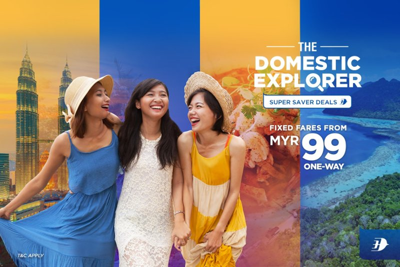 Domestic destinations with fixed fares from MYR 99