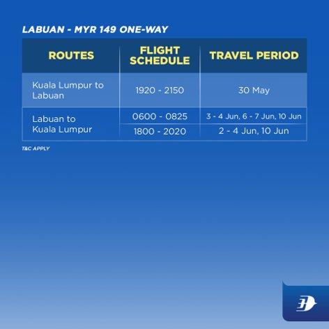 Labuan - MYR 149 one-way