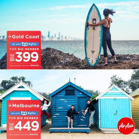 Gold Coast, from RM399, Melbourne, from RM449