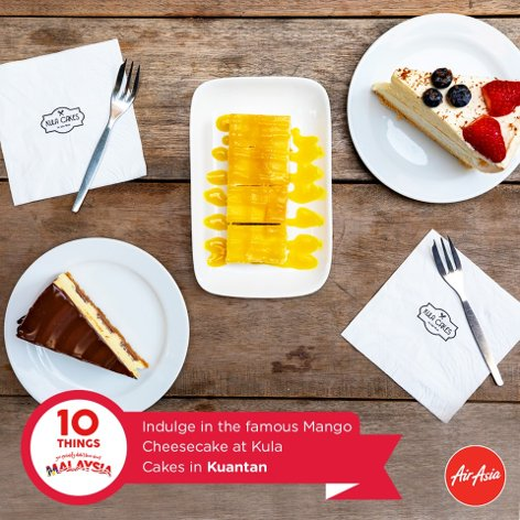 Indulge in the famous Mango Cheesecake at Kula Cakes in Kuantan